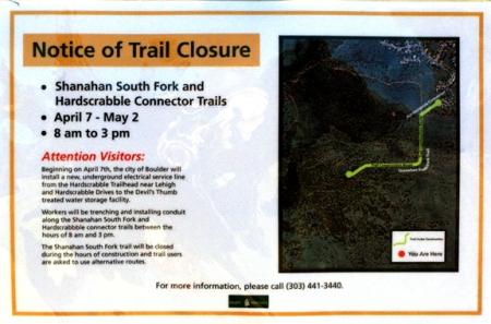 Shanahan Trail Closure