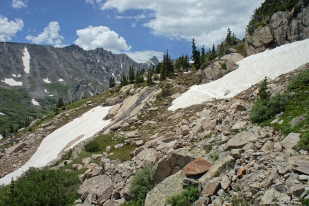 There is Still Lots of Snow on the Pawnee Pass trail