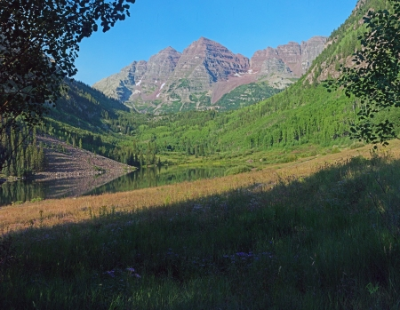 "Maroon Bells From Aspen Grove 14 August 7:15AM @  39° 5'55.78""N106°56'34.61""W"
